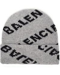 Balenciaga - Logo-intarsia Virgin Wool-blend Beanie - Lyst