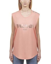 d90635b5 Balmain Logo Button-shoulder Muscle Tee in Orange - Lyst