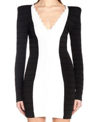 1200be7ca4ab Balmain Crystal-pleated Leather Mini Dress in Black - Lyst