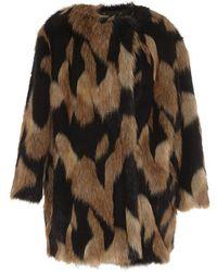 Givenchy - Graphic Faux Fur Short Coat - Lyst