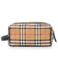 Burberry - Checked Wash Bag - Lyst