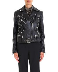 MICHAEL Michael Kors - Studdded Belt Biker Jacket - Lyst