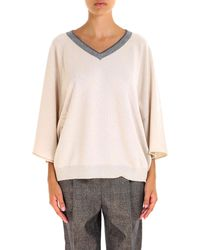 513fee4280 Lyst - Brunello Cucinelli Ribbed Chunky Sweater in White