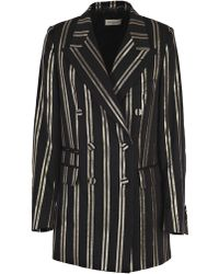 Dries Van Noten - Giacca Lunga D/petto Righe - Lyst