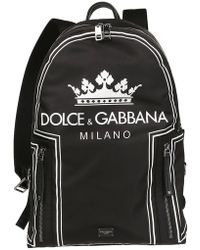 Dolce & Gabbana - Black And White Crown Logo Print Backpack - Lyst