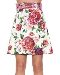 Dolce & Gabbana - Peony Print Mini Skirt - Lyst