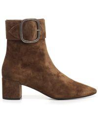 af5ef6006571 Saint Laurent Brown Suede Hyde 15 Flat Boots in Brown - Lyst