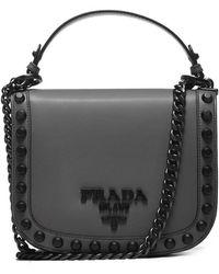 Prada - Logo Plaque Studded Bag - Lyst