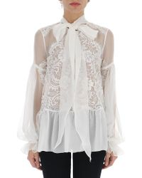 Givenchy - Lace Neck Tie Blouse - Lyst