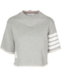 Thom Browne - Intarsia Cotton Jersey T-shirt W/stripes - Lyst