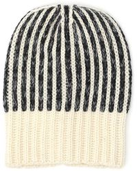 Saint Laurent - Stripe Knitted Ribbed Beanie - Lyst
