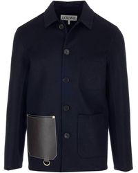 Loewe - Leather Patch Pocket Detail Single Breasted Jacket - Lyst