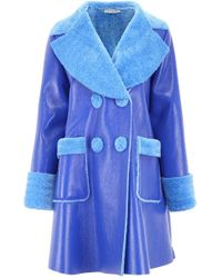 Vivetta - Faux Leather Shearling Double-breasted Coat - Lyst