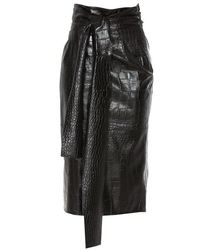 MSGM Crocodile Skin Effect Pencil Skirt - Black