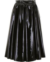 MSGM - Vinyl Pleated Midi Skirt - Lyst