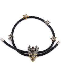 Alexander McQueen - Braided King Skull Bracelet - Lyst