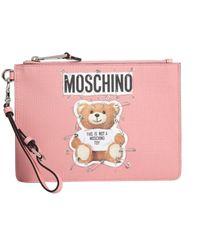 Moschino - Teddy Bear Safety Pin Saffiano Leather Medium Clutch - Lyst