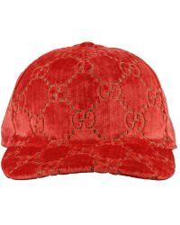 Gucci Light Red Velvet Feel Hat By