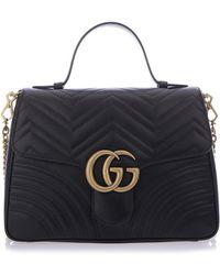 Lyst - Gucci Gg Marmont Matelassé Top Handle Bag in Black dc6ac6856af28
