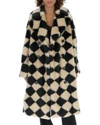 Marco De Vincenzo - Diamond Pattern Faux Fur Coat - Lyst