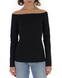 598bd8bb0f7eb8 Theory Vinata Sartorial Off-the-shoulder Top in Black - Lyst