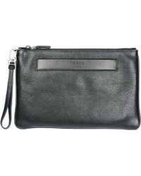 Prada - Embossed Logo Document Pouch - Lyst