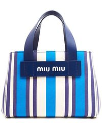 Miu Miu - Small Striped Canvas Tote Bag - Lyst