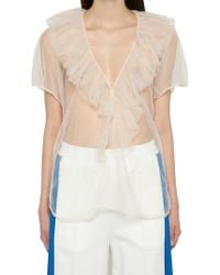 Nude - Tulle V Neck Top - Lyst