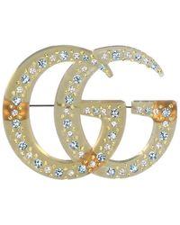 Gucci - Double G Crystal Embellished Brooch - Lyst