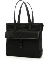 Prada - Nylon & Leather Tote Bag - Lyst