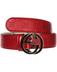 dab34d071 Gucci - Women's Genuine Leather Belt Signature gg - Lyst