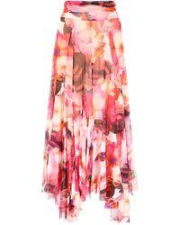 MSGM - Floral Printed Handkerchief Skirt - Lyst