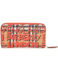 Burberry - Graffiti Print Checked Zipped Wallet - Lyst
