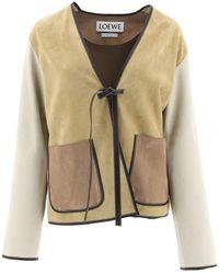 Loewe - Suede Jacket In Camel-color - Lyst