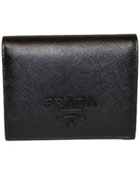 Prada - Saffiano Leather Folding Wallet - Lyst