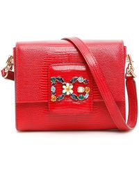 Dolce   Gabbana Chain Strap Embellished Crossbody Bag in Red - Lyst 65097a457dcc9