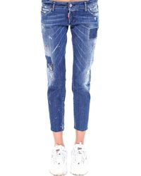 DSquared² - Jennifer Distressed Cropped Jeans - Lyst