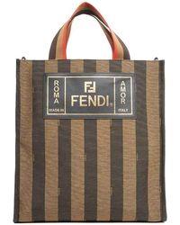 Fendi - Striped Top Handle Tote Bag - Lyst