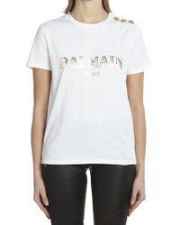 87098043a0b3e0 Balmain - Embellished Buttons T-shirt - Lyst