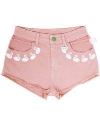 Gcds - Swan Embroidered Denim Shorts - Lyst