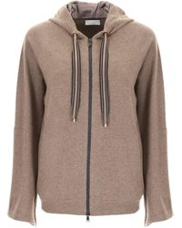Brunello Cucinelli - Oversized Sleeves Zipped Hoodie - Lyst