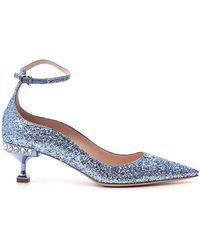 Miu Miu Glitter Ankle Strap Court Shoes