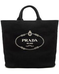 f8357bb6fdc407 Prada Logo Print Pvc Tote Bag W/ Canvas Pouch in Black - Lyst