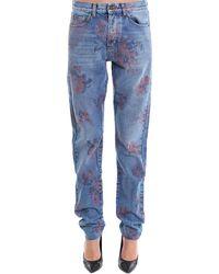 Saint Laurent - Floral Print Jeans - Lyst