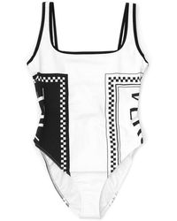 68eab1752f503 Givenchy Logo-print Swimsuit in Blue - Lyst