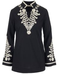 Tory Burch - Embroidered Stand Collar Tunic - Lyst