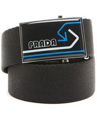 Prada - Logo Plate Buckle Belt - Lyst