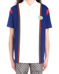 dda185e9f108f Lyst - Gucci Piqué Gg Jacquard Short Sleeve Polo in Blue for Men