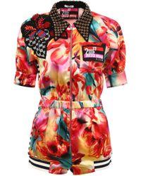 909fbba1bf Miu Miu - Embellished Floral Print Jumpsuit - Lyst