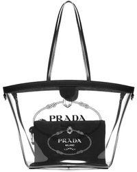 Prada - Logo Transparent Tote Bag - Lyst
